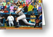 Baseball Mixed Media Greeting Cards - DEREK JETER delivers the 3000th hit - Yankee Stadium - July 9th 2011 Greeting Card by Dan Haraga