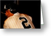 Famous Baseball Stadium Greeting Cards - Derek Jeter II- New York Yankees - Baseball  Greeting Card by Lee Dos Santos