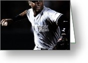  Baseball Art Greeting Cards - Derek Jeter Greeting Card by Paul Ward