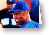 World Series Champion Greeting Cards - Derek Jeter Greeting Card by Shirl Theis