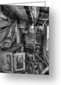 Falling Down Greeting Cards - Derelict House BW Greeting Card by Thomas Zimmerman