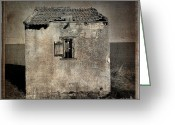 Old Cabins Photo Greeting Cards - Derelict hut  textured Greeting Card by Bernard Jaubert