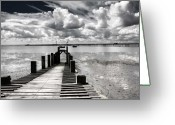 Beach Greeting Cards - Derelict Wharf Greeting Card by Sheila Smart