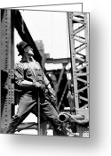 Black And White Photos Painting Greeting Cards - Derrick man   Empire State Building Greeting Card by LW Hine