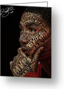 Poster Mixed Media Greeting Cards - Derrick Rose Typeface Portrait Greeting Card by Dominique Capers