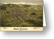 Vintage Map Digital Art Greeting Cards - Derry Station Pennsylvania Greeting Card by Donna Leach
