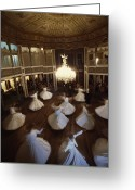 Attire Greeting Cards - Dervishes Perform A Ritual Dance Greeting Card by James L. Stanfield
