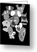 Cyclops Greeting Cards - Desaturated World Greeting Card by Jera Sky