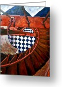 Vertigo Painting Greeting Cards - Descending Hatteras -sold Greeting Card by Mirinda Reynolds