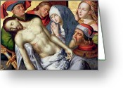 Van Painting Greeting Cards - Descent from the Cross Greeting Card by Hugo van der Goes