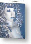Survivor Mixed Media Greeting Cards - Desdemona Blue - Self Portrait Greeting Card by Jaeda DeWalt