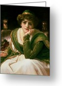 Hand On Chin Greeting Cards - Desdemona Greeting Card by Frederic Leighton