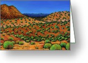 Greens Greeting Cards - Desert Afternoon Greeting Card by Johnathan Harris