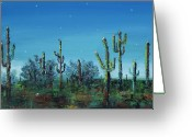Abstract Landscapes Greeting Cards - Desert Blue Greeting Card by Frances Marino
