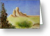 Mound Painting Greeting Cards - Desert Butte Greeting Card by Jamie Frier