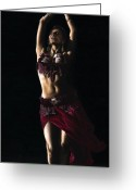 Red Dress Painting Greeting Cards - Desert Dancer Greeting Card by Richard Young