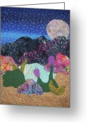 Desert Tapestries - Textiles Greeting Cards - Desert Dreaming Greeting Card by Ellen Levinson