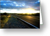 Blacktop Greeting Cards - Desert Highway Greeting Card by Anthony Citro
