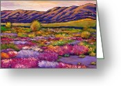 Hills Greeting Cards - Desert in Bloom Greeting Card by Johnathan Harris