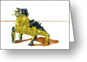 Horned Lizard Greeting Cards - Desert Lion Greeting Card by Kristin Maija Peterson