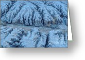 Gully Greeting Cards - Desert Moonlight Erosion - HDR Greeting Card by Gary Whitton
