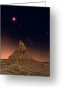 Physical Geography Greeting Cards - Desert Night Greeting Card by Inigo Cia