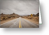 Double Yellow Line Greeting Cards - Desert Road Greeting Card by Eric Lowenbach