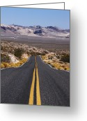 Double Yellow Line Greeting Cards - Desert Road Leading Into The Distance Greeting Card by Gary Yeowell