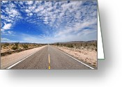 Highways Greeting Cards - Desert Road Greeting Card by Peter Tellone