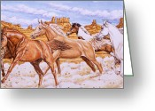 Wild Horse Painting Greeting Cards - Desert Run Greeting Card by Richard De Wolfe