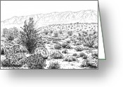 Scrub Greeting Cards - Desert Scrub Ecosystem Greeting Card by Logan Parsons
