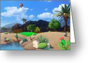 Air Mixed Media Greeting Cards - Desert Splendor Greeting Card by Snake Jagger