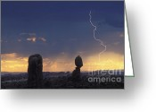 "\""lightning Strike\\\"" Greeting Cards - Desert Storm - FS000484 Greeting Card by Daniel Dempster"