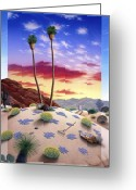 Snake Painting Greeting Cards - Desert Sunrise Greeting Card by Snake Jagger