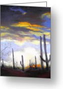 Sunset Prints Pastels Greeting Cards - Desert Sunset Greeting Card by Curt Peifley