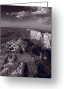 Warm Greeting Cards - Desert View At Grand Canyon Arizona BW Greeting Card by Steve Gadomski