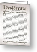 Inspirational Drawings Greeting Cards - Desiderata 3 Greeting Card by Harley MacDonald