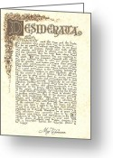 Poster Greeting Cards - Desiderata 4 Greeting Card by Harley MacDonald
