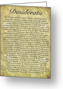 Desiderata Greeting Cards - DESIDERATA on Antique Paper Greeting Card by Harley MacDonald