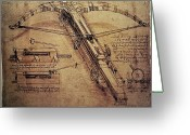 Scientists Greeting Cards - Design for a Giant Crossbow Greeting Card by Leonardo Da Vinci