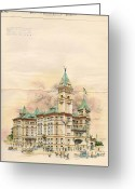 Judge Greeting Cards - Design of Bexar County Court House. San Antonio TX. 1894 Greeting Card by James Riely Gordon
