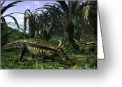 Dinosaurs Greeting Cards - Desmatosuchus Search For Edible Roots Greeting Card by Walter Myers