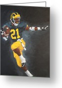 Football Painting Greeting Cards - Desmond Heisman Greeting Card by Travis Day