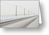 Telephone Pole Greeting Cards - Desolate Winter Road Greeting Card by Lynn Koenig