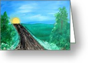 Country Dirt Roads Painting Greeting Cards - Destination Greeting Card by Tony Allison