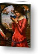 Red Dress Painting Greeting Cards - Destiny Greeting Card by John William Waterhouse