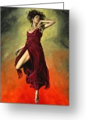 Red Dress Painting Greeting Cards - Destinys Dance Greeting Card by Richard Young
