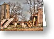 Barks Greeting Cards - Destruction Barn Greeting Card by Deborah Smolinske