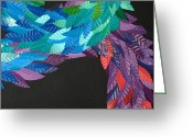 Mayan Mythology Greeting Cards - Detail - KUKULKAN Greeting Card by Mitza Hurst