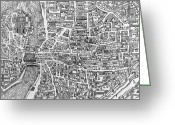 Old Map Drawings Greeting Cards - Detail from a map of Paris in the reign of Henri II showing the quartier des Ecoles Greeting Card by French School